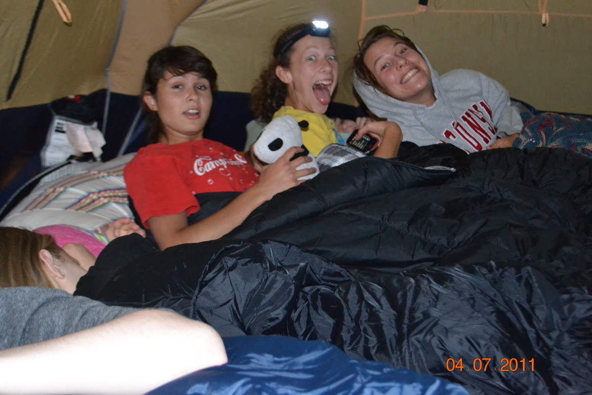 Girls in the tent